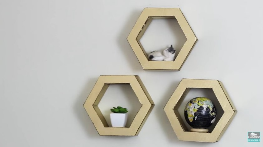 DIY hexagon shelves from HGTV