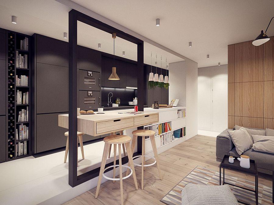 Dark gray kitchen shelves and wine storage area