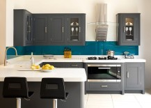 Dashing kitchen in teal, white and gray