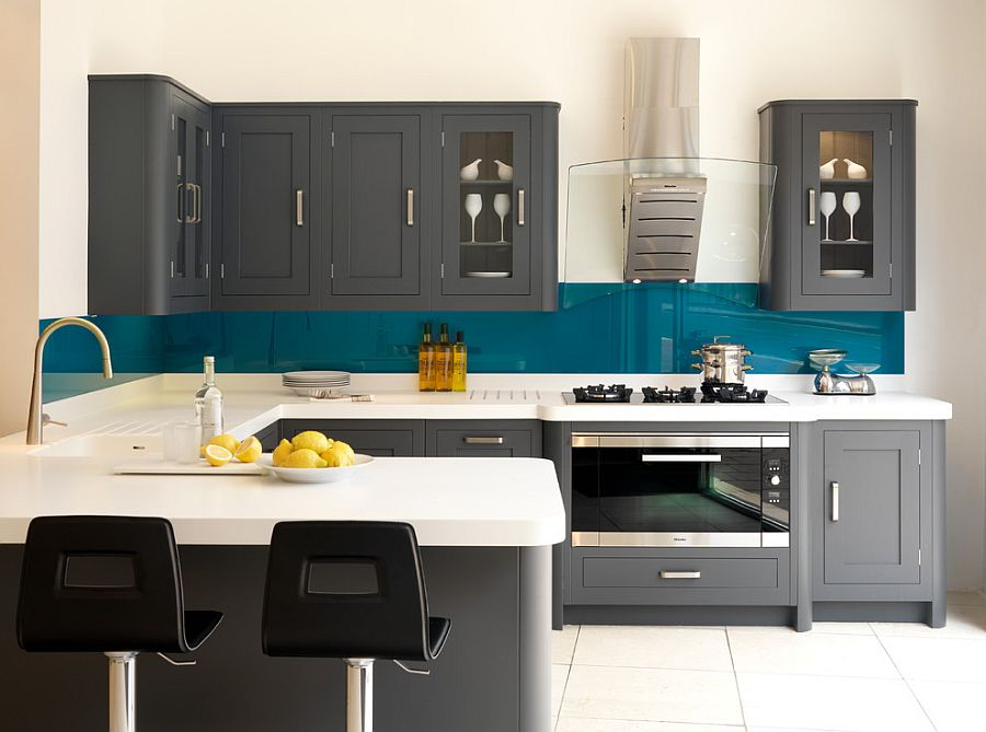 Dashing kitchen in teal, white and gray [Design: Harvey Jones Kitchens]