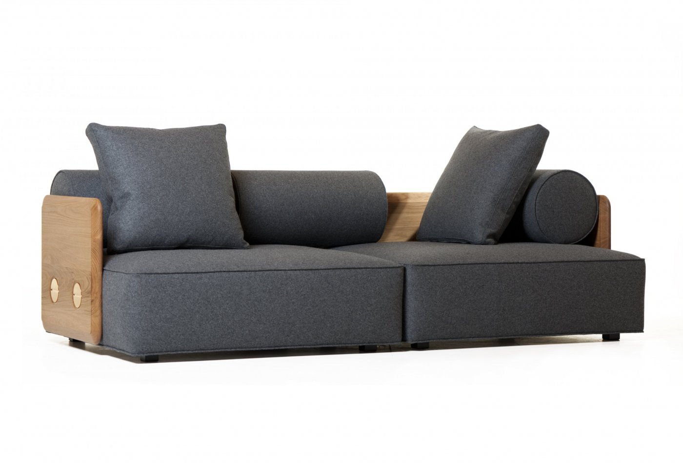 view in gallery deco sofa profile in danish oiled oak and wool.  highend and handsome contemporary sofas