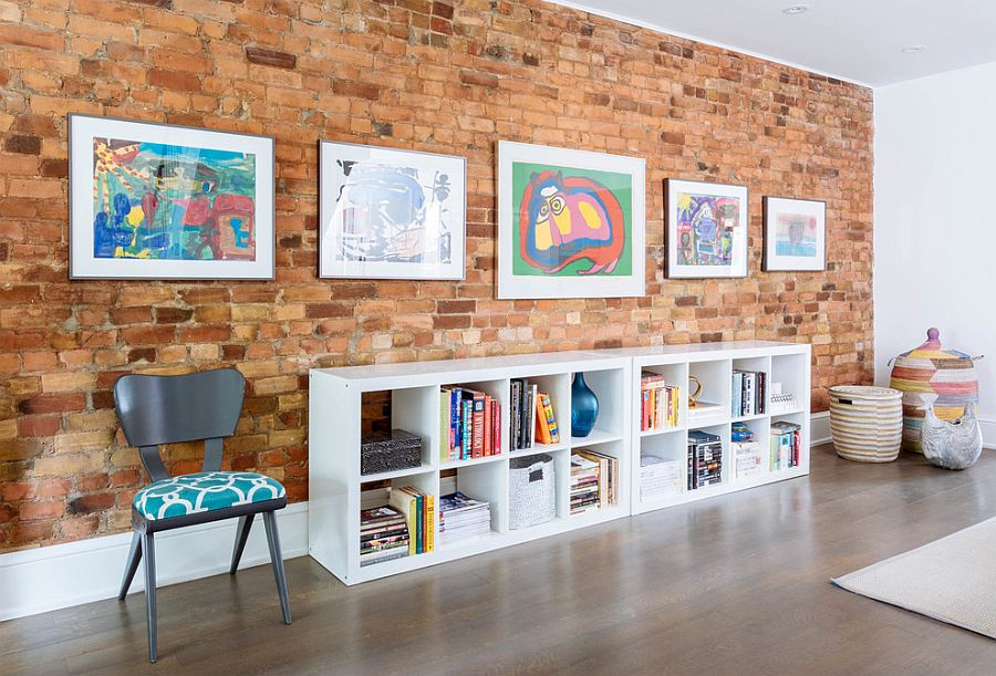 Delicieux ... Decorate The Living Room Brick Wall With Modernity [Design: Meghan  Carter Design]