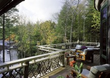 Design of the railing adds to the rustic charm of the gorgeous deck
