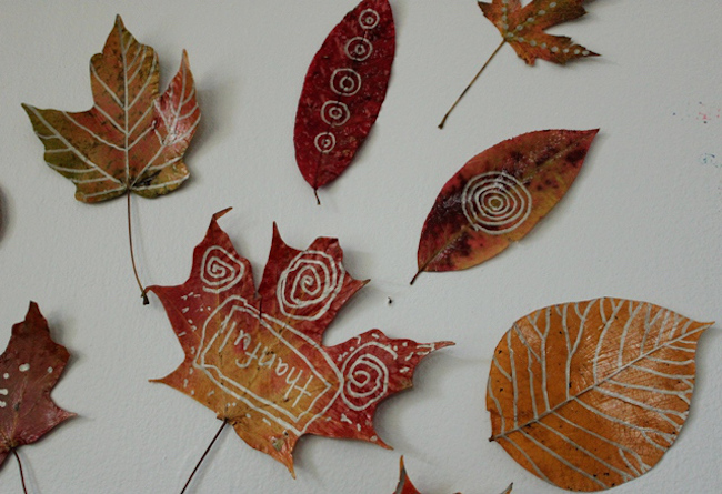 Designs doodled on leaves
