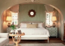 Distressed wooden paneling is a great way to bring shabby chic glam to the bedroom