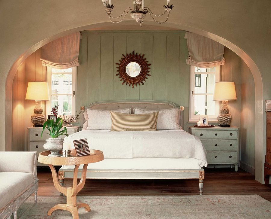 Distressed wooden paneling is a great way to bring shabby chic glam to the bedroom [Design: Wendi Young Design]