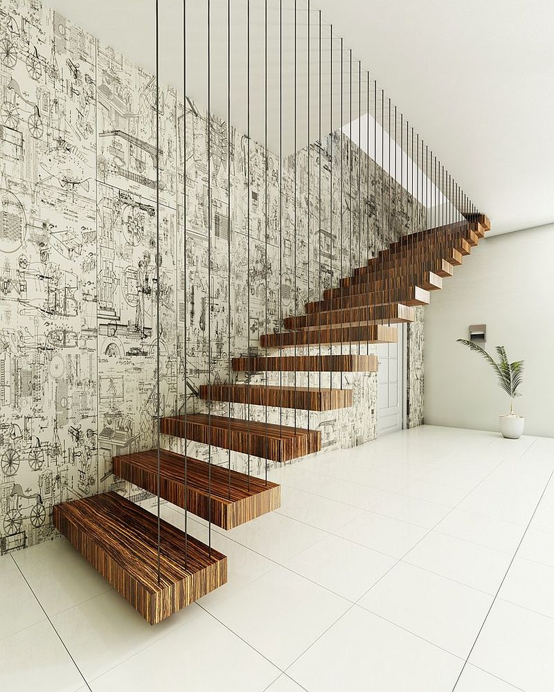 Dramatic Floating Staircase With A