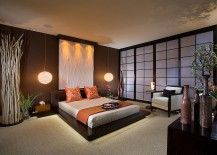 Dramatic master bedroom inspired by beach sunset theme