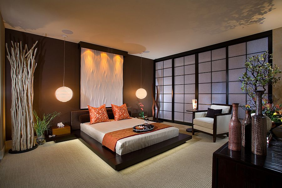 Dramatic master bedroom inspired by beach sunset theme [Design: International Custom Designs]