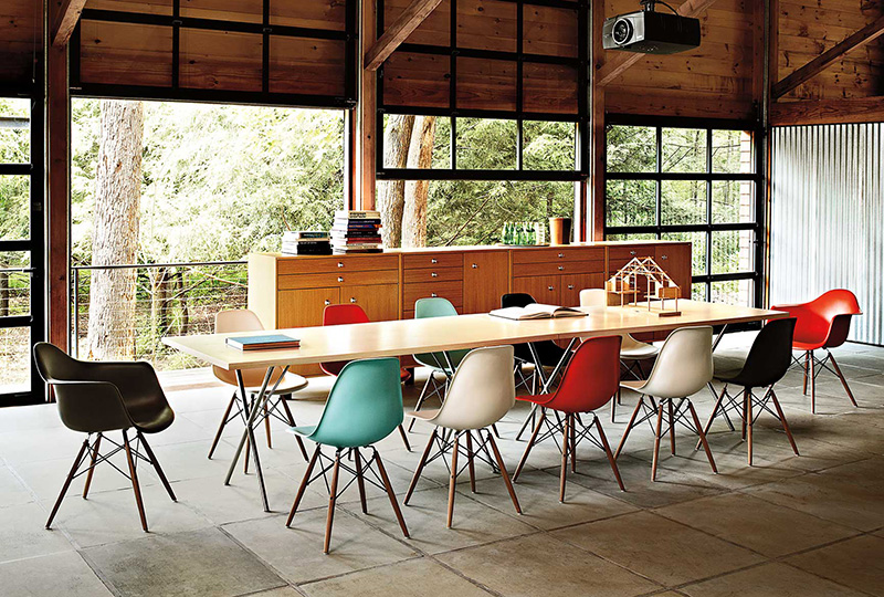 Eames moulded plastic chairs