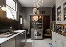 Eclectic kitchen combines gray, white and black