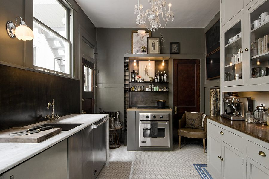 Eclectic kitchen combines gray, white and black [Design: cityhomeCOLLECTIVE]
