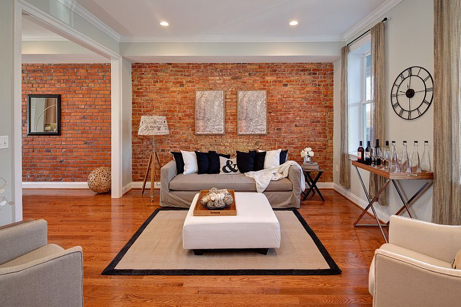 ... Eclectic living room with masterful use of the brick accent wall [From StruXture Photography & 100 Brick Wall Living Rooms That Inspire Your Design Creativity