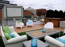 Eclectic outdoor home theater idea
