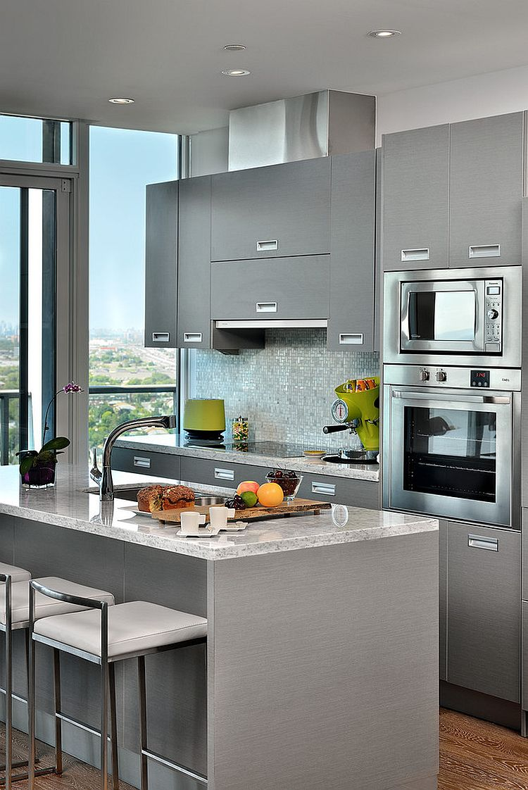 Elegant use of gray in the small contemporary kitchen [From: Arnal Photography]