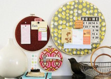 Embroidery hoop cork boards 217x155 8 DIY Projects to Dress Up Your Cork Boards