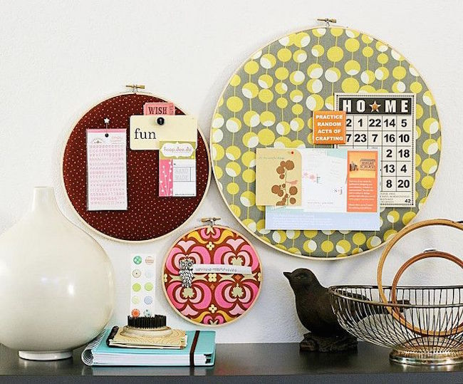 Embroidery hoop cork boards