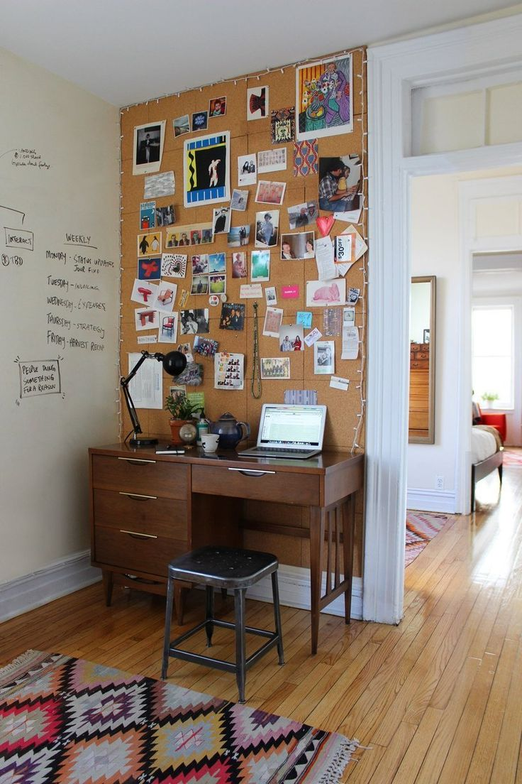 Nice Office Cork Board. View In Gallery Entire Wall Tiled With Cork Board And  Lined Mini