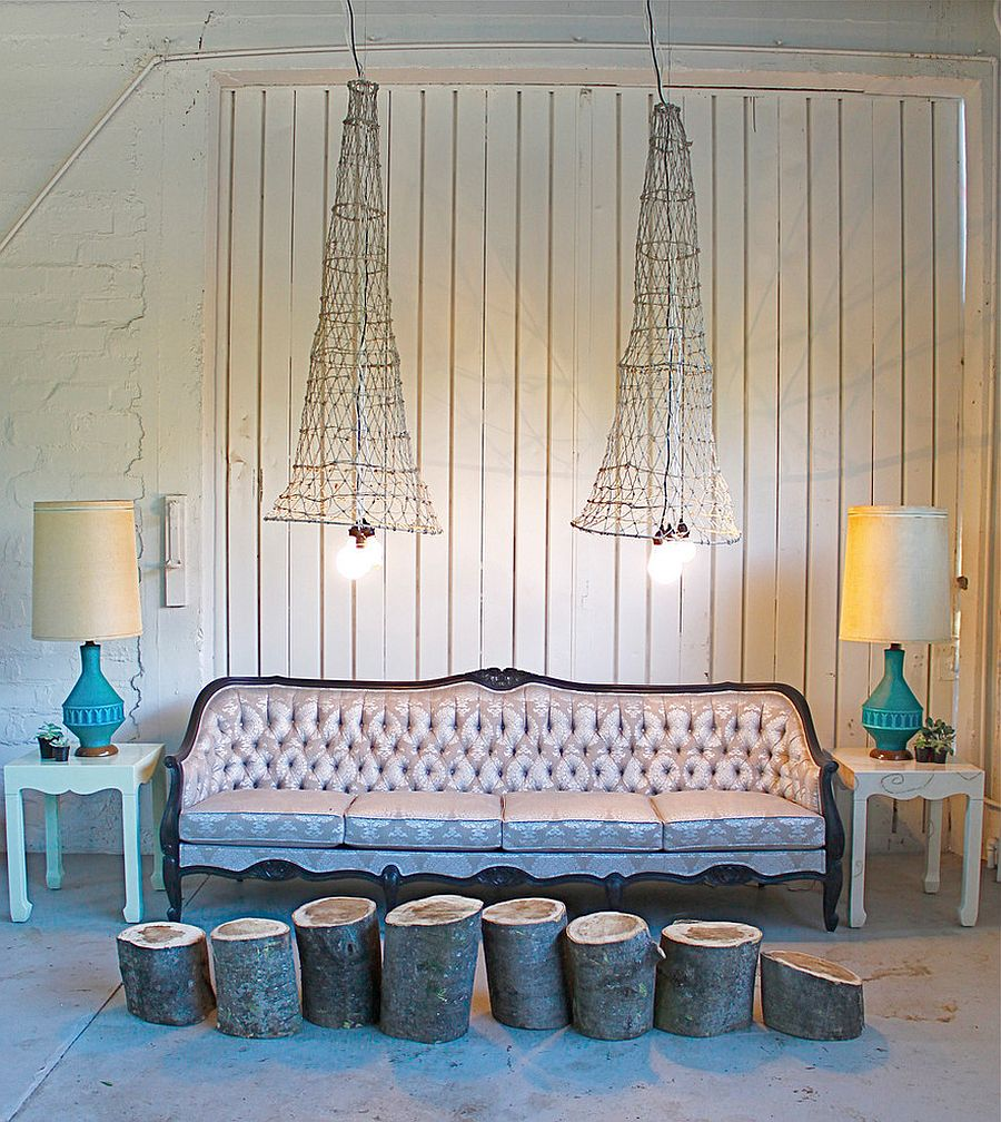 Exclusive vintage lighting crafted from old fish nets [Design: Red: Modern Lines – Vintage Finds]