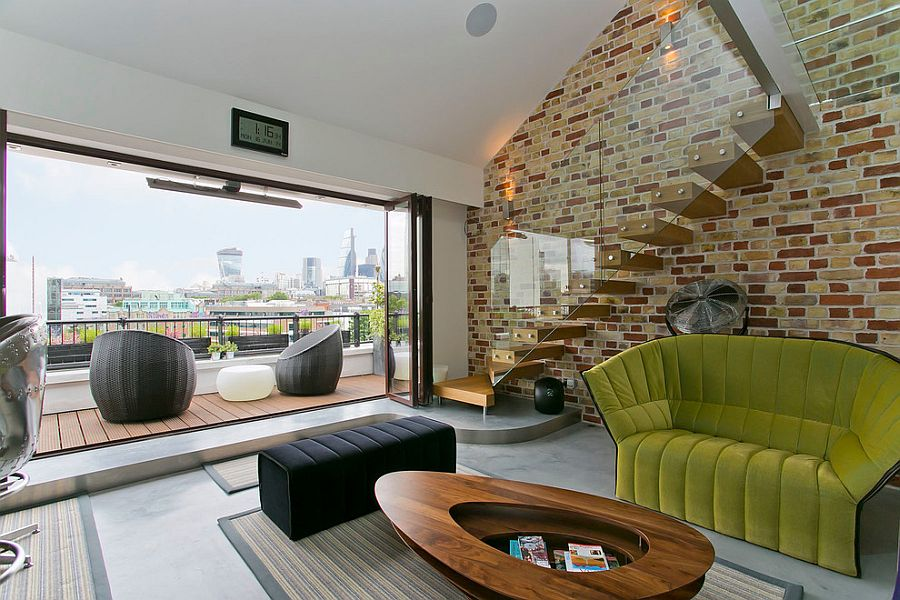 Exposed brick work adds both color and texture to the modern interior
