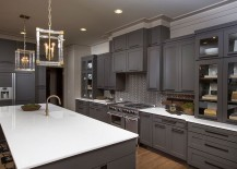 Exquisite-gray-kitchen-with-sparkling-oendant-lighting-217x155