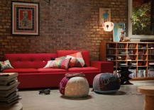 100 brick wall living rooms that inspire your design creativity - Exquisite image of living room with red sofa for your inspiration ...