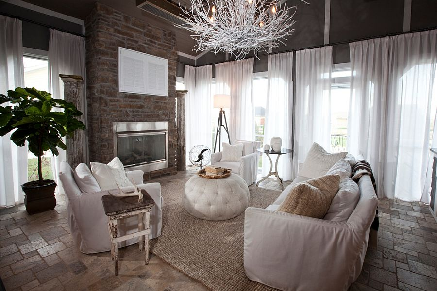 Fabulous chandelier steals the show in this dashing living space [Design: R. Cartwright Design]
