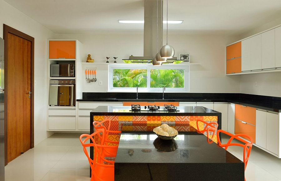 Fabulous use of orange and yellow in the contemporary kitchen