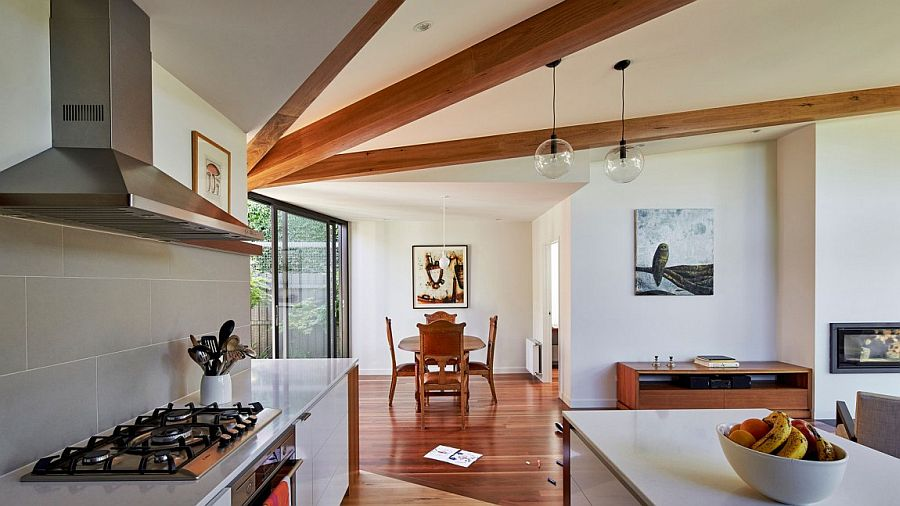 Fabulous use of timber beams inside a modern extension