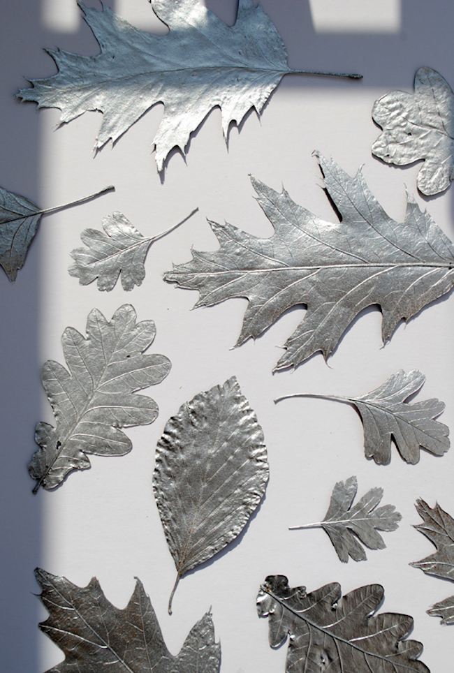 Fall leaves painted in silver