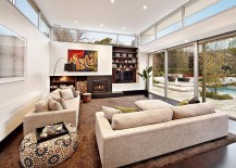 Family area of the home connected with the rear yard 217x155 Kooyong House: Revitalized Modern Interior Meets Relaxing Family Retreat