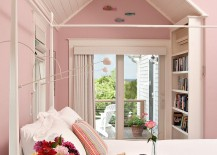 Feminine bedroom in pastel pink with shabby chic style [Design: Encore Construction]