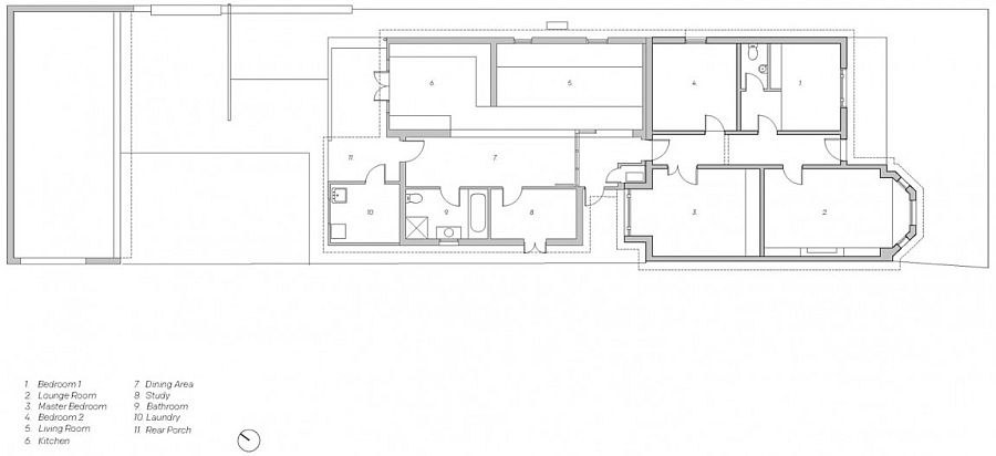 Floor plan of the Diagonal House before renovation