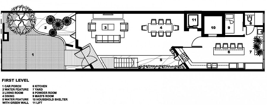 Floor plan of the first level of the private home in Singapore