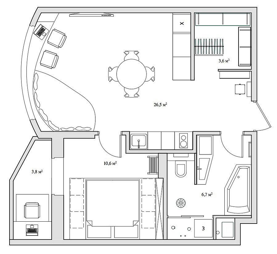 Floor plan of the small Russian apartment