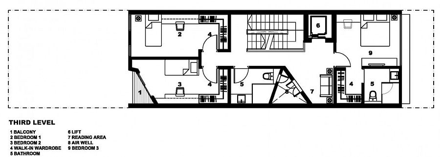 Floor plan of the third level with kids' bedrooms and workspaces