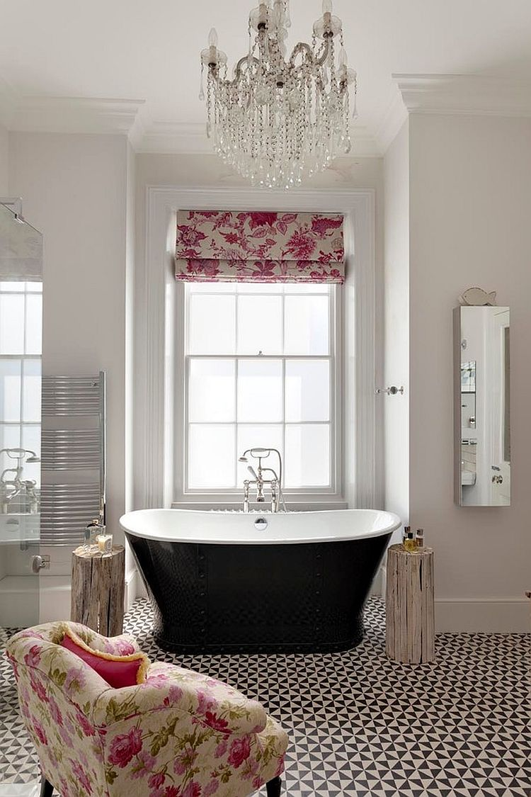 Floor tiles in black and white, floral patterned blind and cool bathtub for the bathroom [Design: RDP Architects]