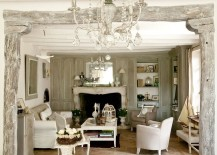 French cottage living room with dark wooden cabinets [Design: Catherine Sandin]