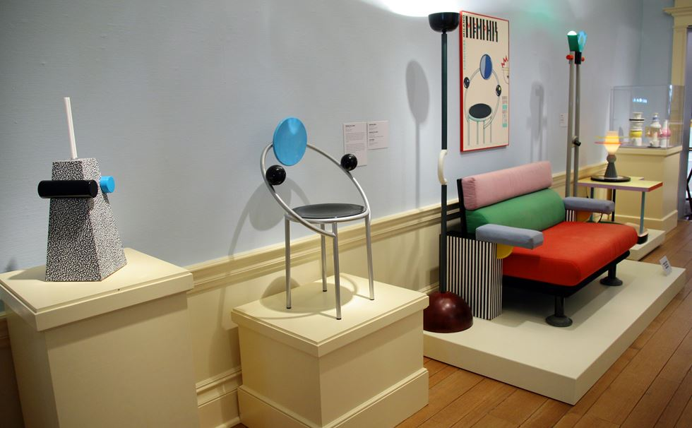 view in gallery from the design museum memphismilano exhibition ii memphis group furniture
