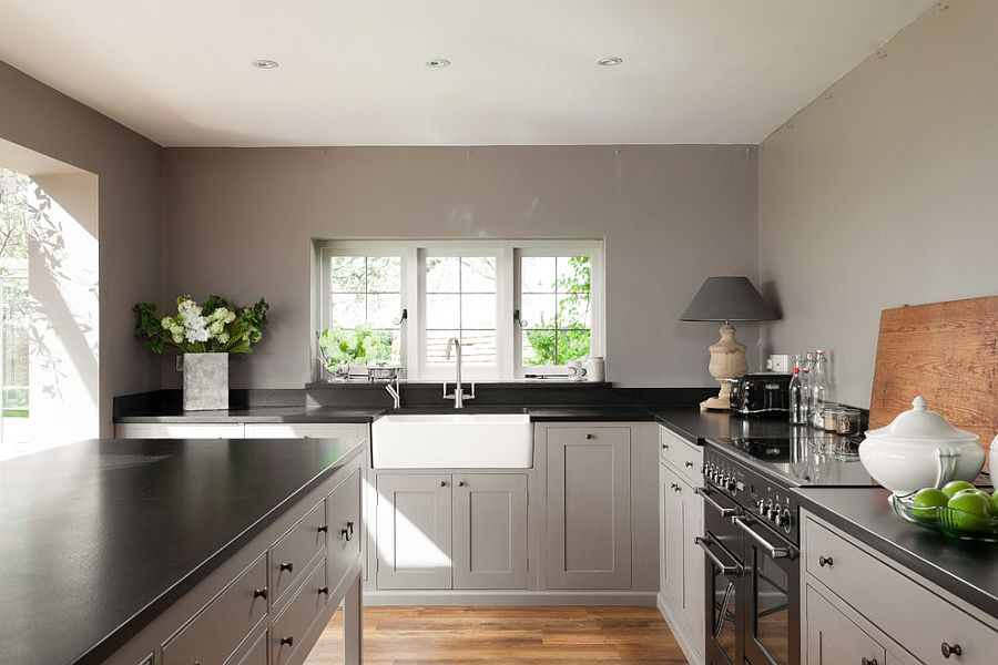 Functional farmhouse kitchen in gray and black [From: Ryan Wicks Photography]