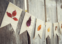 Garland made from paper and pressed leaves 217x155 8 Creative DIY Project Ideas for Using Fall Leaves as Seasonal Wall Art