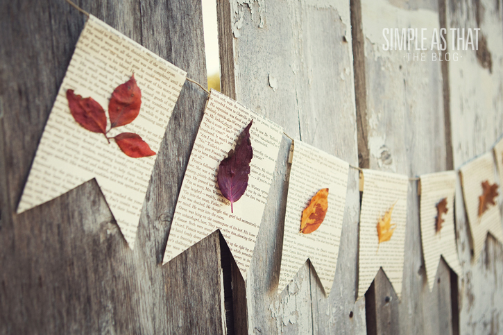 Garland made from paper and pressed leaves