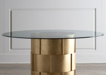Glam metal and glass dining table from Horchow