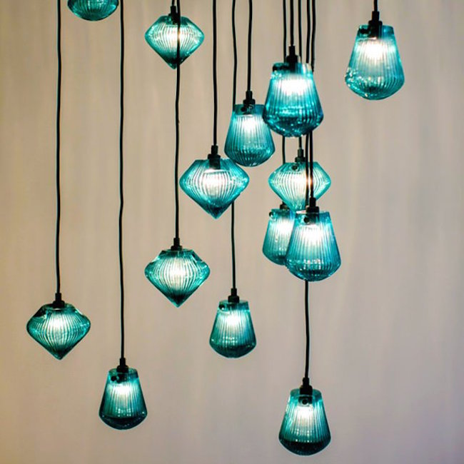 Glass bead pendant light by Tom Dixon