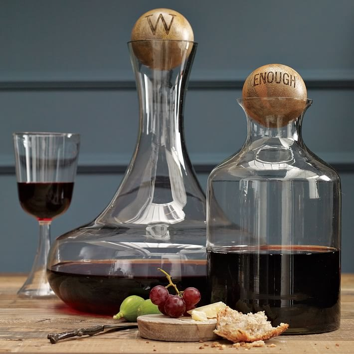Glass bottles with wood stoppers from West Elm