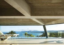 Glass walls acts as a wind breaker and safety feature even while bringing in the spectacular view