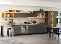 Gorgeous kitchen shelves in gray and yellow 217x155 Foodshelf: Fresh, Fluid Design Unites Living Room and Kitchen