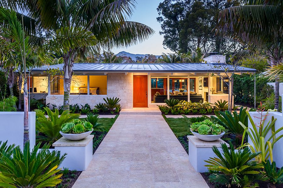 Gorgeous landscape adds to the beuaty of the revamped 50s home Butterfly Beach Villa: 50s Ranch Style Home Goes Midcentury Modern with Flair