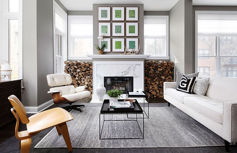 Gorgeous living room of Chicago Townhouse clad in neutral hues