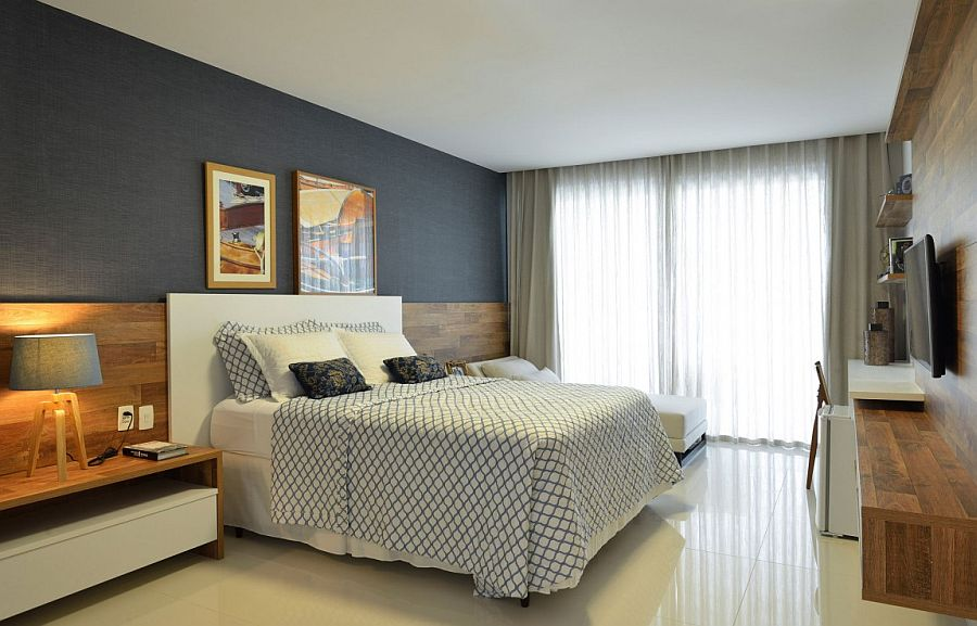Grasscloth wallpaper adds texture to the relaxed contemporary bedroom